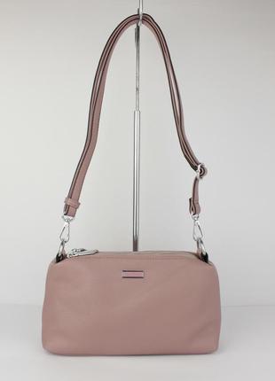 Небольшая сумочка через плечо на 3 отдела velina fabbiano 591319-3 пудровая