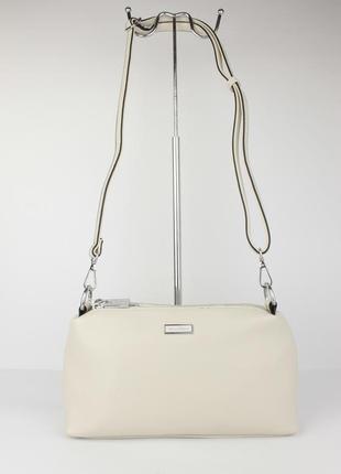 Небольшая сумочка через плечо на 3 отдела velina fabbiano 591319-3 светло-бежевая