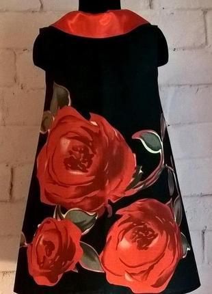 Сарафан для девочки, сарафан детский с принтом розы, 100% хлопок 110-1403 фото