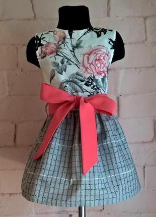 Платье для девочки. платье детское с цветочным принтом, 100% хлопок 110-1402 фото