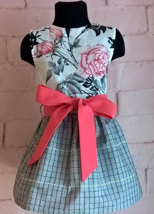 Платье для девочки. платье детское с цветочным принтом, 100% хлопок 110-140