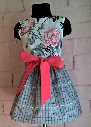 Платье для девочки. платье детское с цветочным принтом, 100% хлопок 110-1403 фото