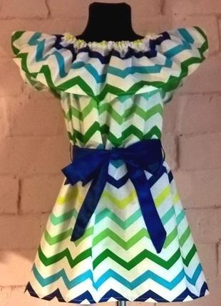 Сарафан/платье детское для девочек с принтом зигзаг. 100% хлопок, размеры 110-1404 фото