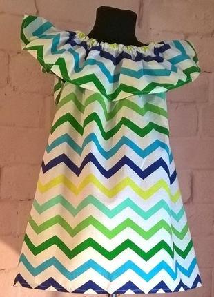 Сарафан/платье детское для девочек с принтом зигзаг. 100% хлопок, размеры 110-1402 фото