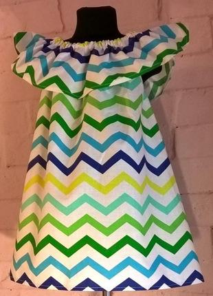 Сарафан/платье детское для девочек с принтом зигзаг. 100% хлопок, размеры 110-1403 фото