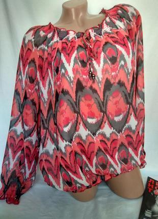 Красивенная свободная шифоновая блуза на подкладе , завязки, резиночки р. xl , от  livre