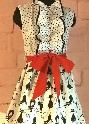 Платье для девочки. платье детское. принт коты и горошек. 100% хлопок.  110-1282 фото