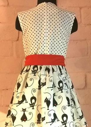 Платье для девочки. платье детское. принт коты и горошек. 100% хлопок.  110-1284 фото