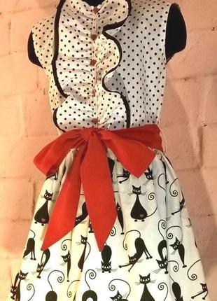 Платье для девочки. платье детское. принт коты и горошек. 100% хлопок.  110-1283 фото