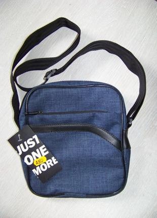 Текстильная синяя сумка-барсетка на три отдела 22*19*5 см