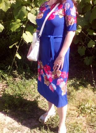 Синя сукня з поясом2 фото