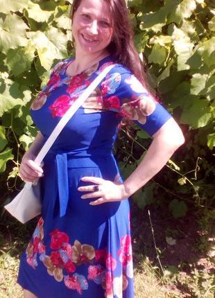 Синя сукня з поясом3 фото