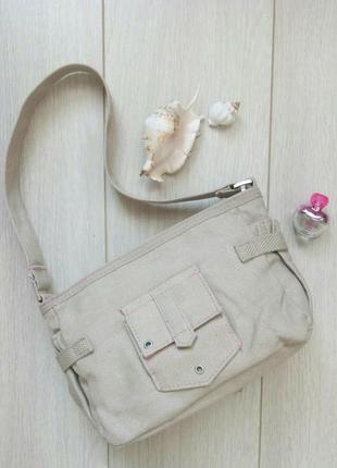 Сумочка текстиль, сумка с короткой ручкой бежевая, розовая как новая