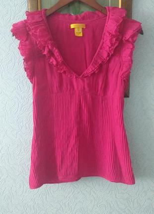 Очаровательная яркая блуза с рюшами catherine malandrino шелк