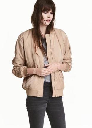 Стильный бомбер, куртка, бежевого цвета, h&m, р. xl