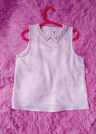 Блуза-топ h&m c жемчугом нарядная девочка 10-11 лет (140-146см) в идеале