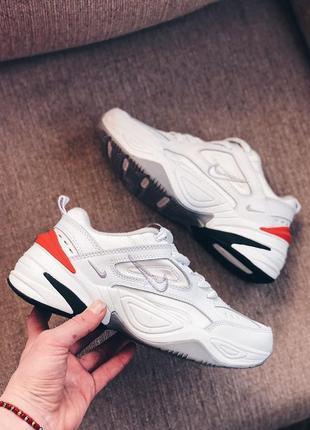 Женские кроссовки  белые оранж6 фото