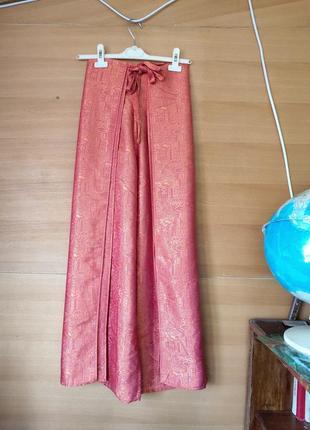 Шелковые широкие брюки парэо / брюки юбка