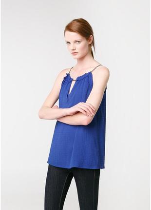 Яркая летняя блуза mango. женская майка, топ цвета аквамарин