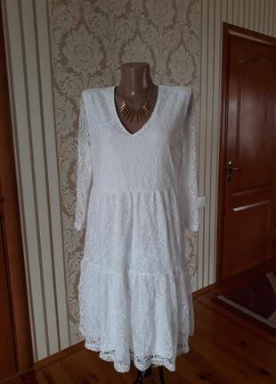Нарядное вечернее коктельное кружевное платье