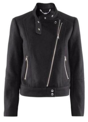 Шерстяное пальто бомбер косуха от h&m