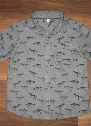 Серая котоновая рубашка в динозавры фирмы маркспенсер на 4 года