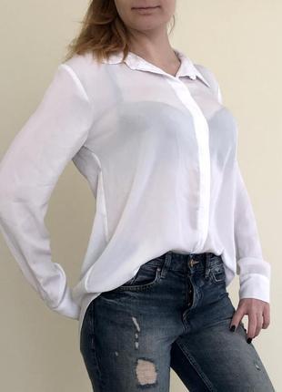Белая базовая рубашка блузка h&m