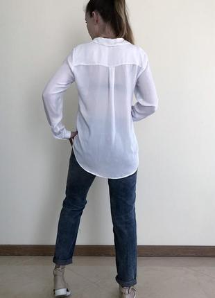 Белая базовая рубашка блузка h&m2 фото
