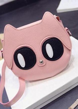 Новая крутая добротная розовая округлая круглая сумка кроссбоди котик кот