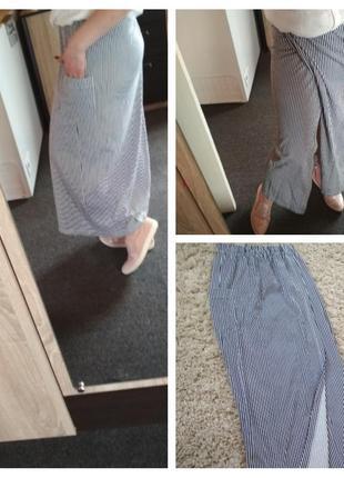 Трендовая юбка макси в полоску с запахом и карманом, р. 8-10