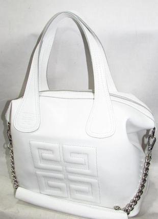 Шикарная женская белая кожаная сумка из натуральной кожи большая качественная стильная1 фото