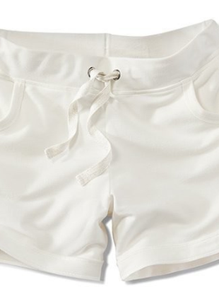 Трикотажные бело-молочные шорты от tcm tchibo евро размер 36-38=наш 42-44