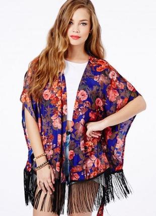 Шелковое цветочное кимоно накидка с бахромой висюльками missguided