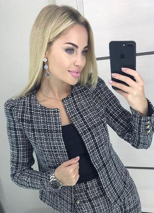 Пиджак жакет серый черный в клетку офисный деловой кофта s m