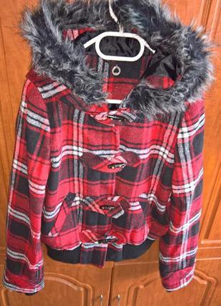 Куртка-пальто в клетку подростковое ..