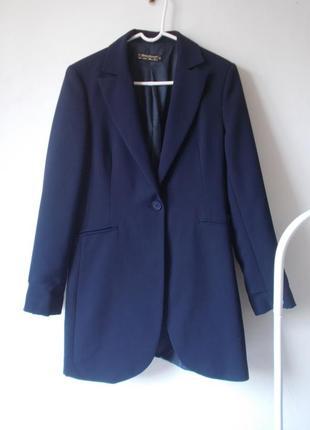 Удлиненный пиджак синий пиджак тренч тренд 2019