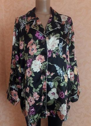 Красивая сатинновая пижамная рубашка размер xl-xxl