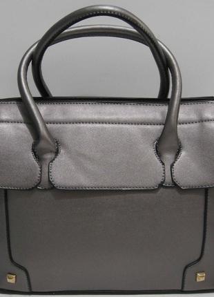 Женская каркасная сумка (серая перламутровая) 19-04-004