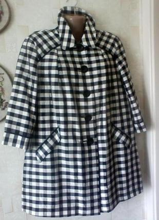 Шелковый плащ тренч, в клеточку, винтажный, от m&s, разм.48-50