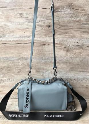 Женская модная кожаная сумка supreme белая пудра черная1 фото