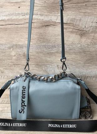 Женская модная кожаная сумка supreme белая пудра черная2 фото
