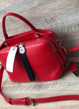 Женская кожаная сумка чёрная красная белая бежевая пудра2 фото