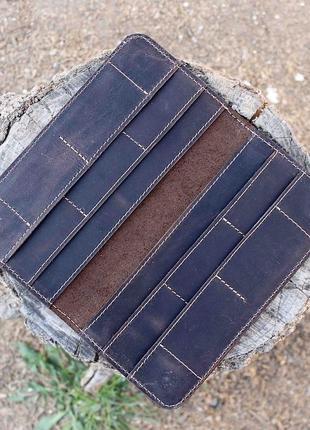Кошелек портмоне на магнитах из натуральной кожи коричневый 10cards