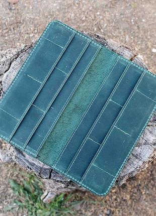 Кошелек портмоне на магнитах из натуральной кожи зеленое 10cards