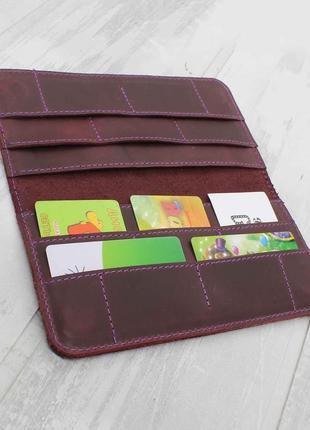 Кошелек портмоне на магнитах из натуральной кожи фиолетовый 10cards