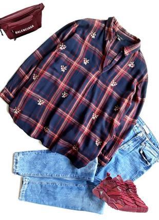 Милая клетчатая рубашка с вышивкой  от new look