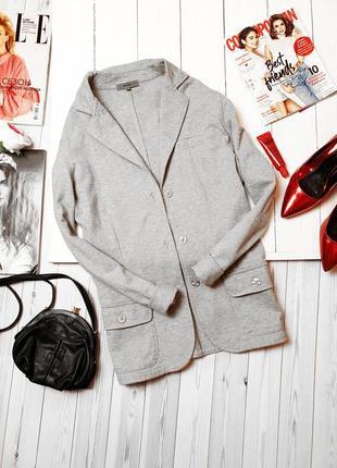 Серый жакет пиджак блейзер трикотаж