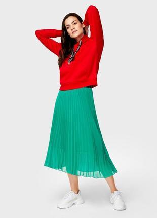 Зеленая юбка миди плиссе3 фото