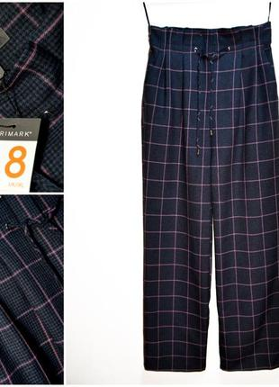Модные широкие брюки в клетку