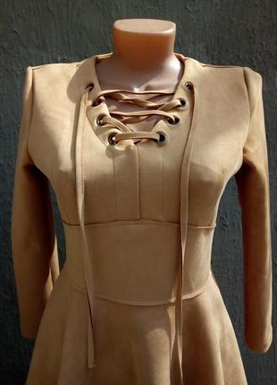 Качественное платье замш с люверсами, шнуровкой2 фото